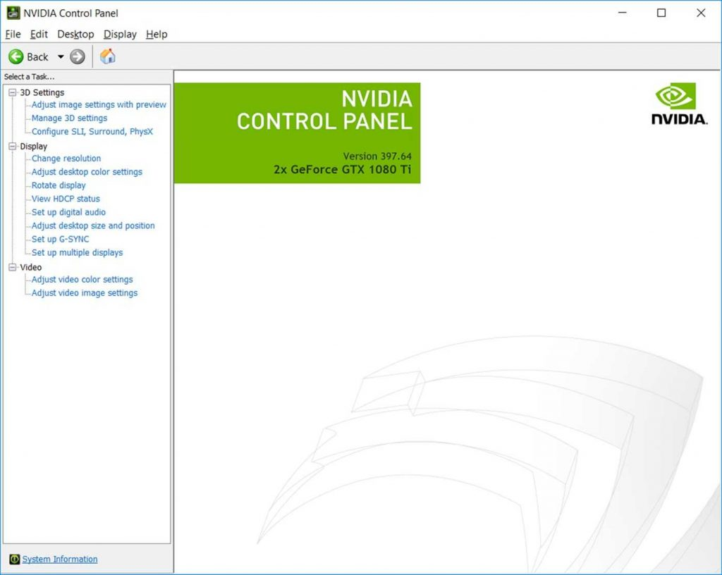 Nvidia control panel screenshot 1